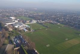 An aerial view of the Imber Court football pitches.